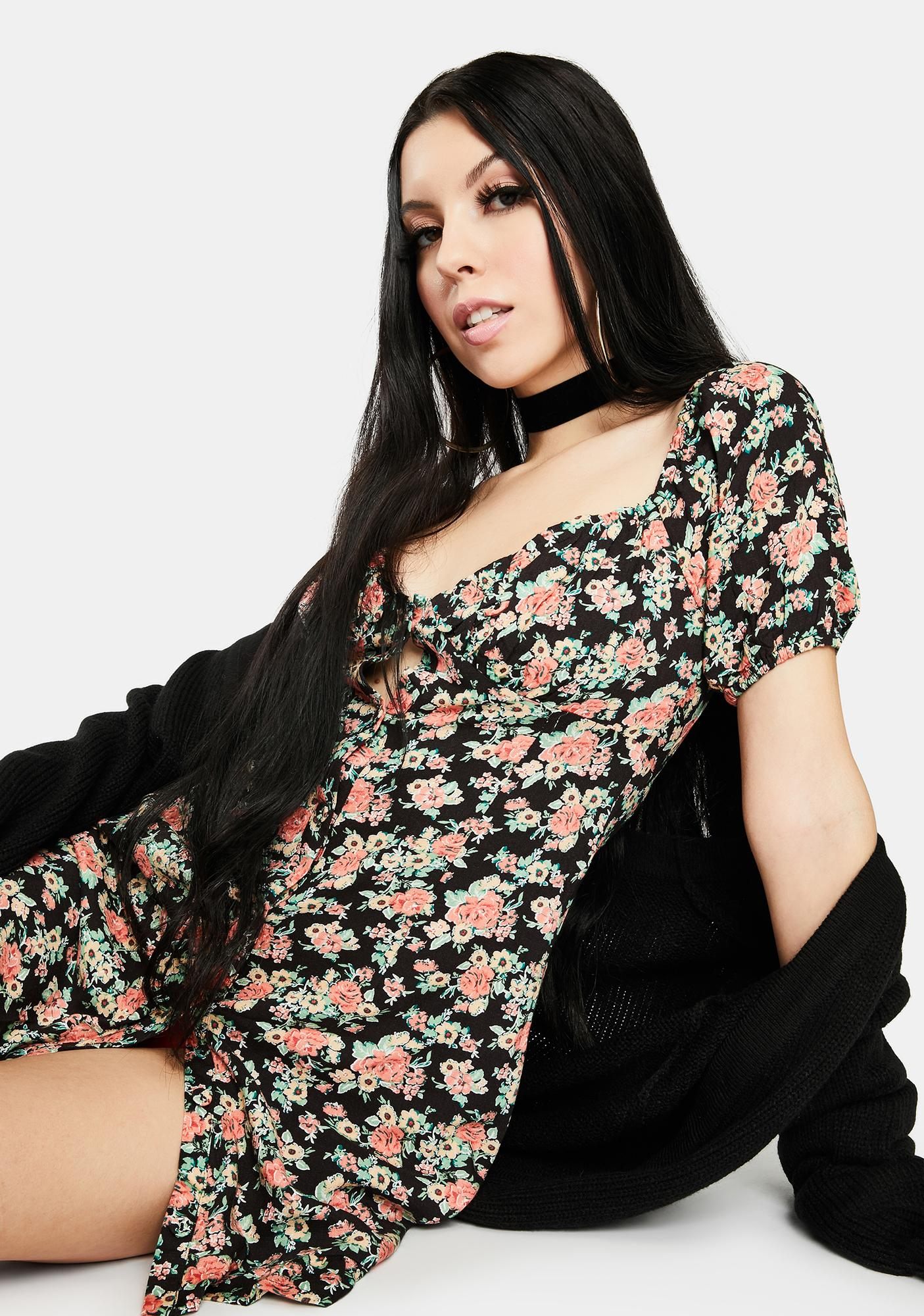 Bailey Rose Black Floral Puff Sleeve Mini Dress