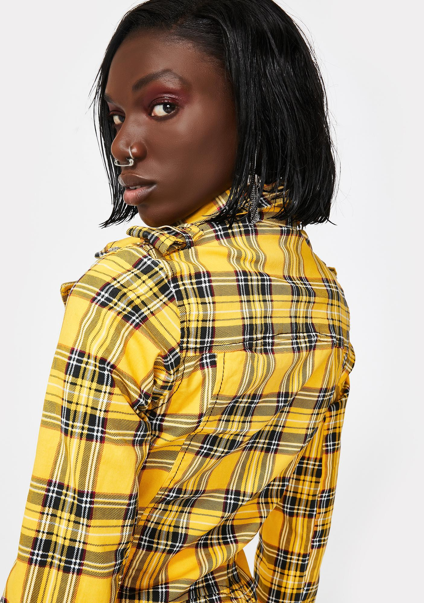 Tripp NYC Yellow Plaid Wild Child Moto Jacket