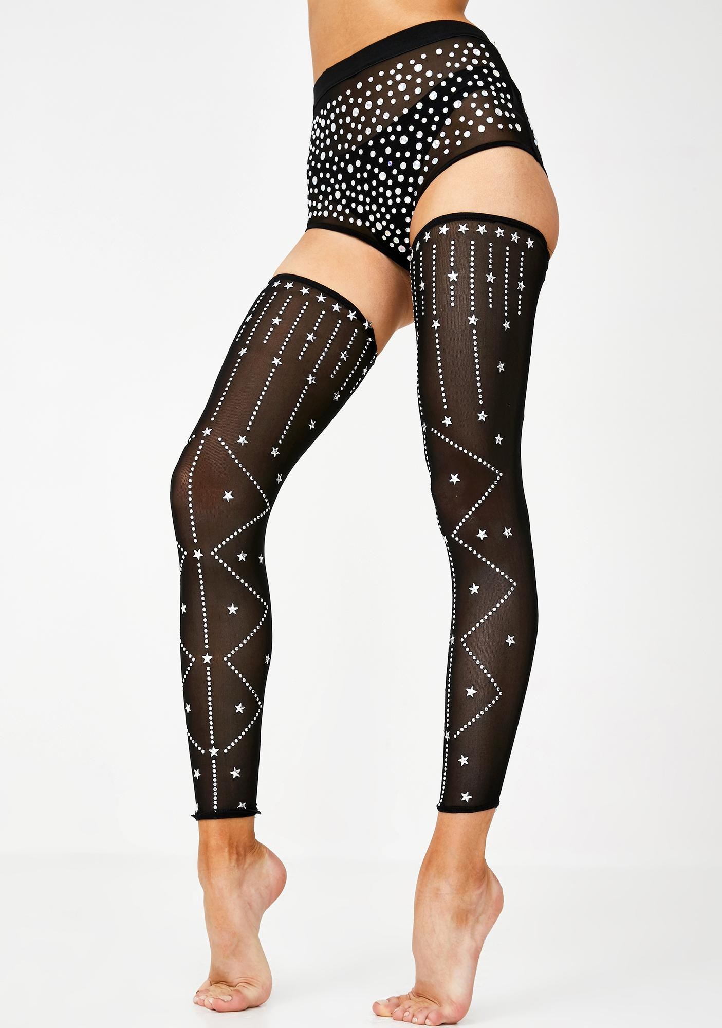 Jaded London Diamante Sheer Thigh Highs