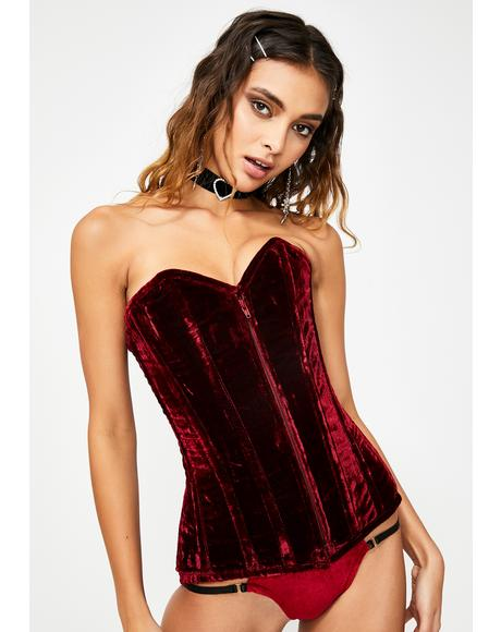 Lavish Crushed Red Velvet Corset