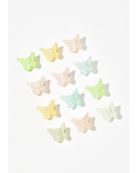 Fuzzy Pastel Butterfly Clips
