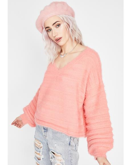 Coral Schoolgirl Crush Fuzzy Sweater