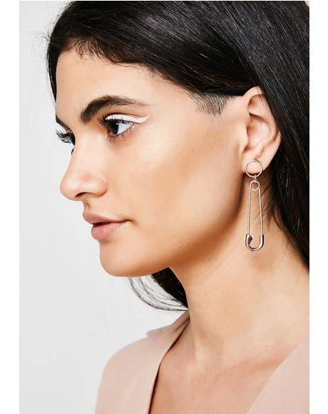 Hold It Together Safety Pin Earrings