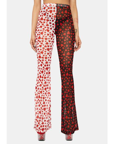 Two Of Hearts Mesh Flare Pants