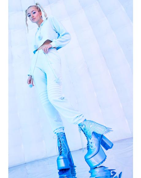 Arctic Angel Holographic Platform Boots