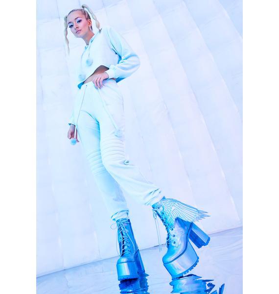 Club Exx Arctic Angel Holographic Platform Boots