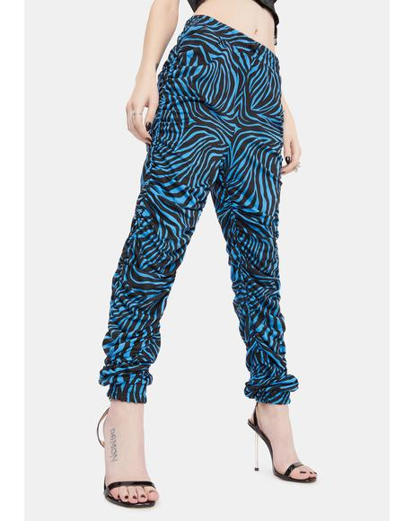 Livid Serious Show Off Ruched Zebra Print Joggers