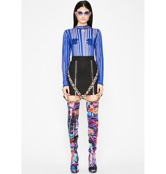 Aqua Temptress Remix Stripe Bodysuit