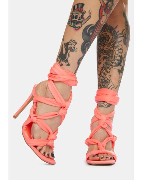 Coral Convo Knotted Lace Up Stiletto Heels