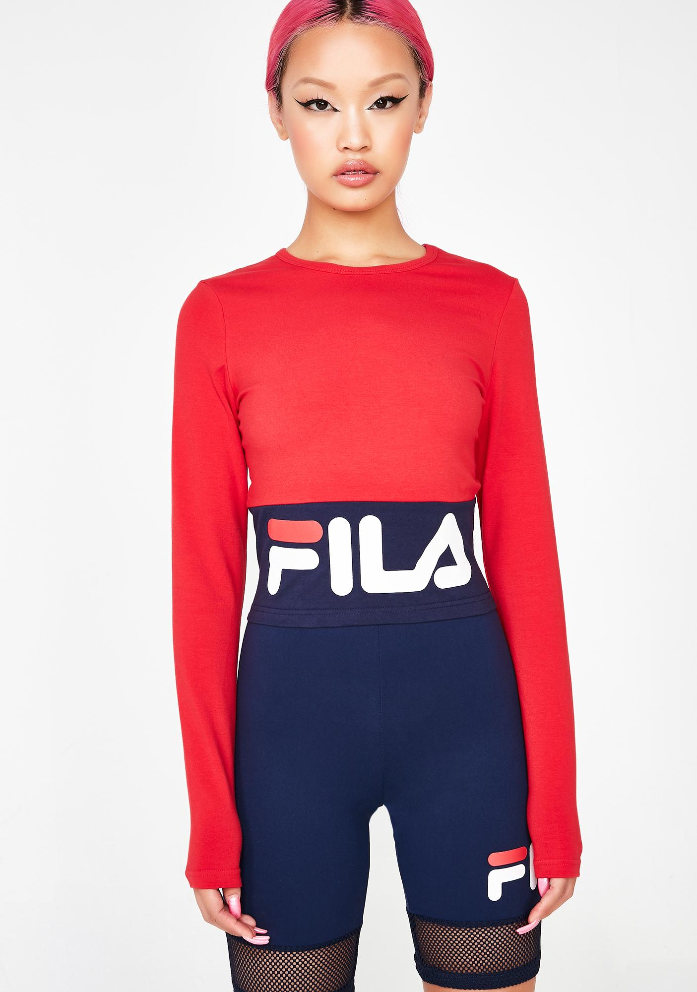 Fila Maria Long Sleeve Crop Top