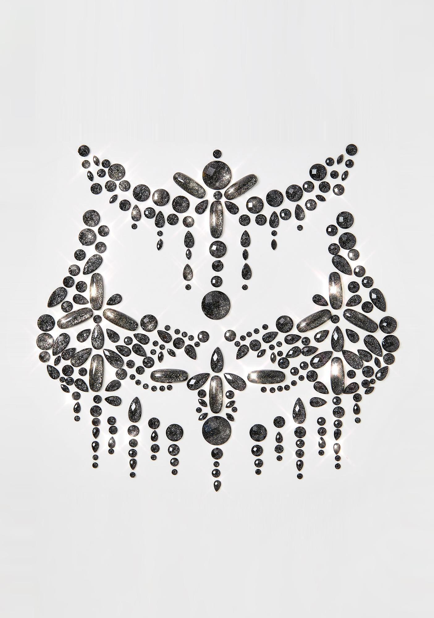 Neva Nude Black Crystal Body Gems Set