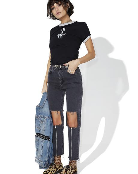 Charcoal Scratch Jeans