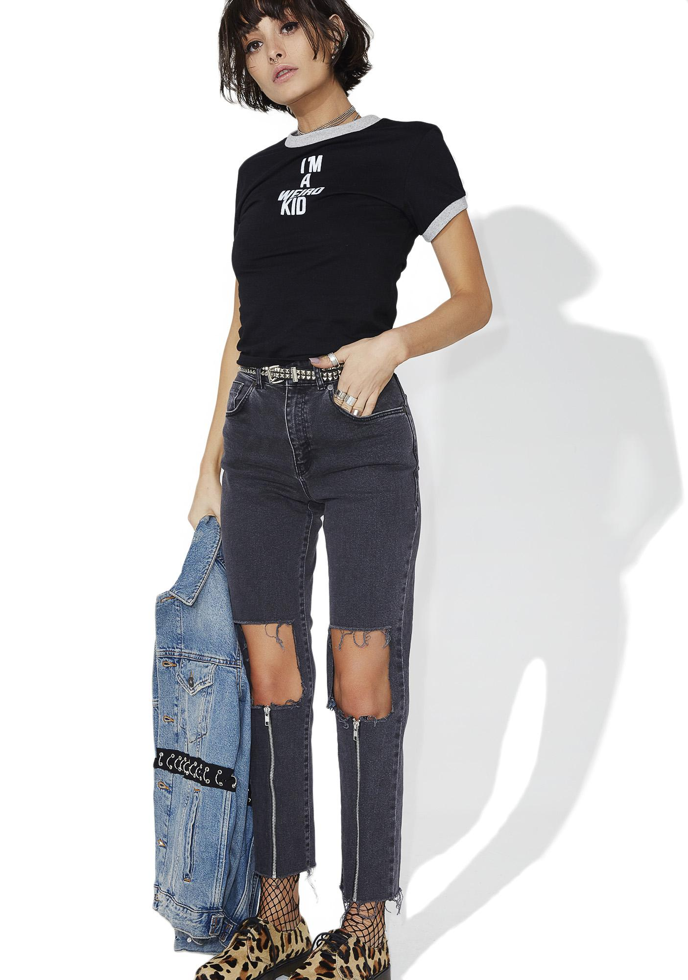 The Ragged Priest Charcoal Scratch Jeans