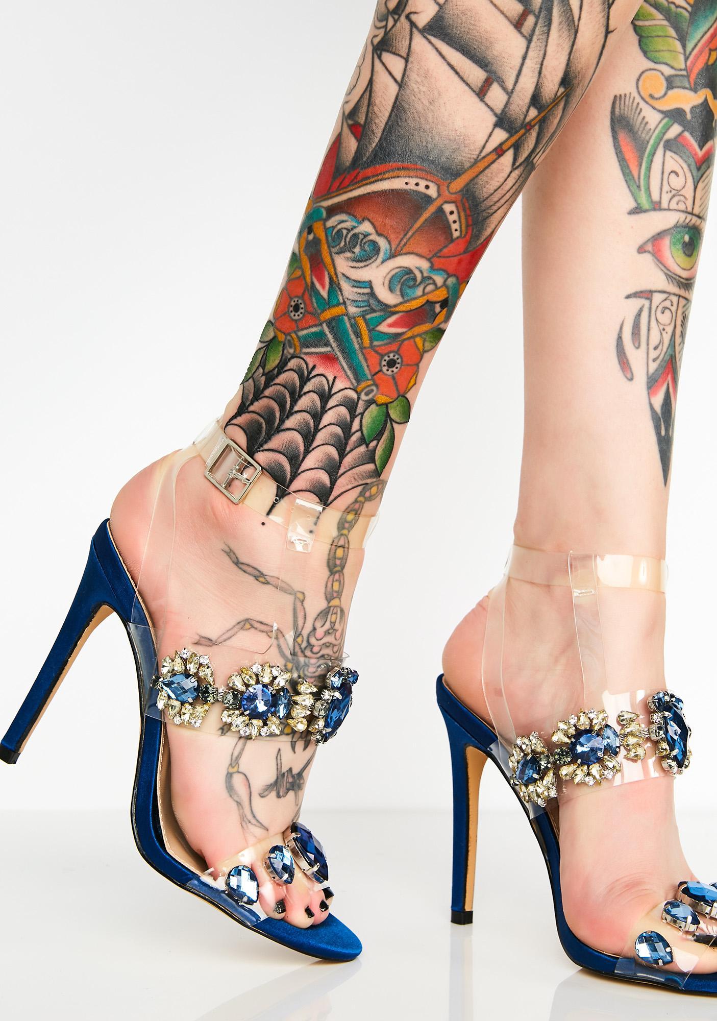 Public Desire Bluebell Jewel Perspex High Heels