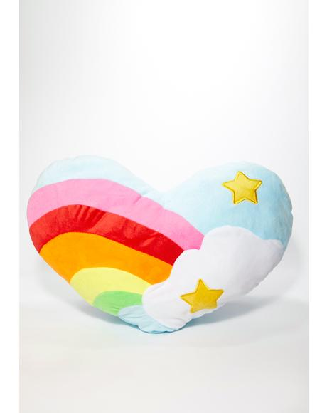 Rainbow Cloud Heart Pillow