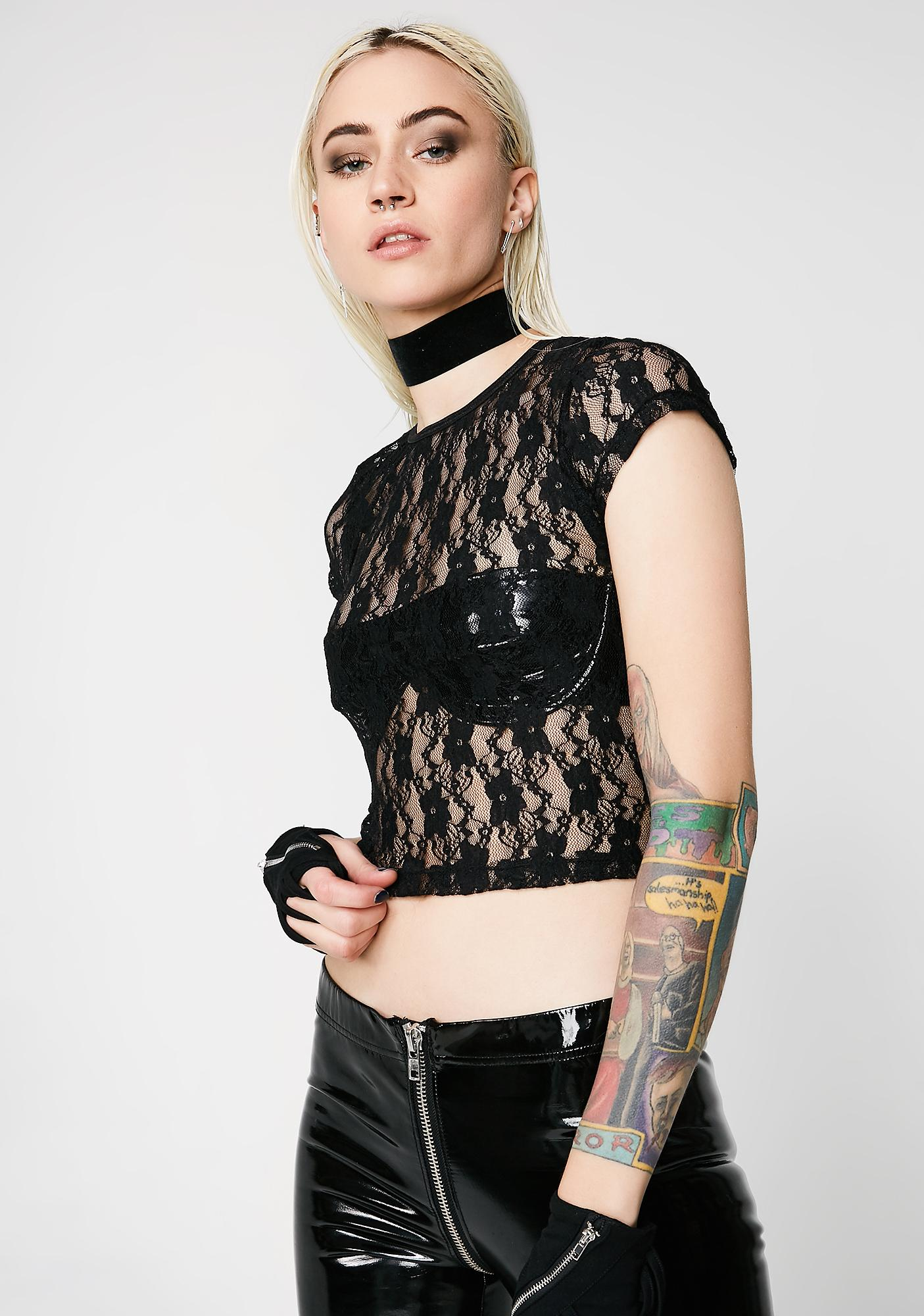 Current Mood Sheer Madness Lace Tee