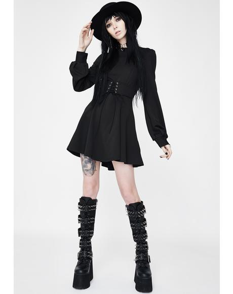 Strict Principles Lace Up Dress