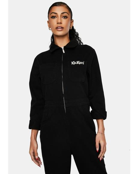 Black Drill Boilersuit
