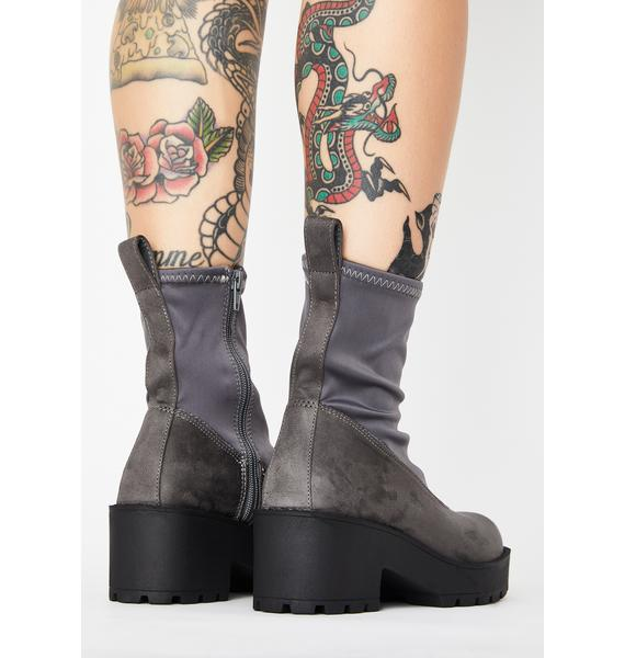 Lust For Life Grey Pace Platform Sock Boots