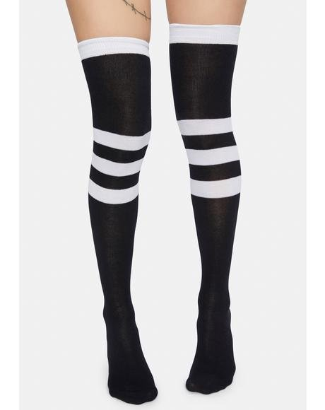Scoring High Stripe Knee High Socks