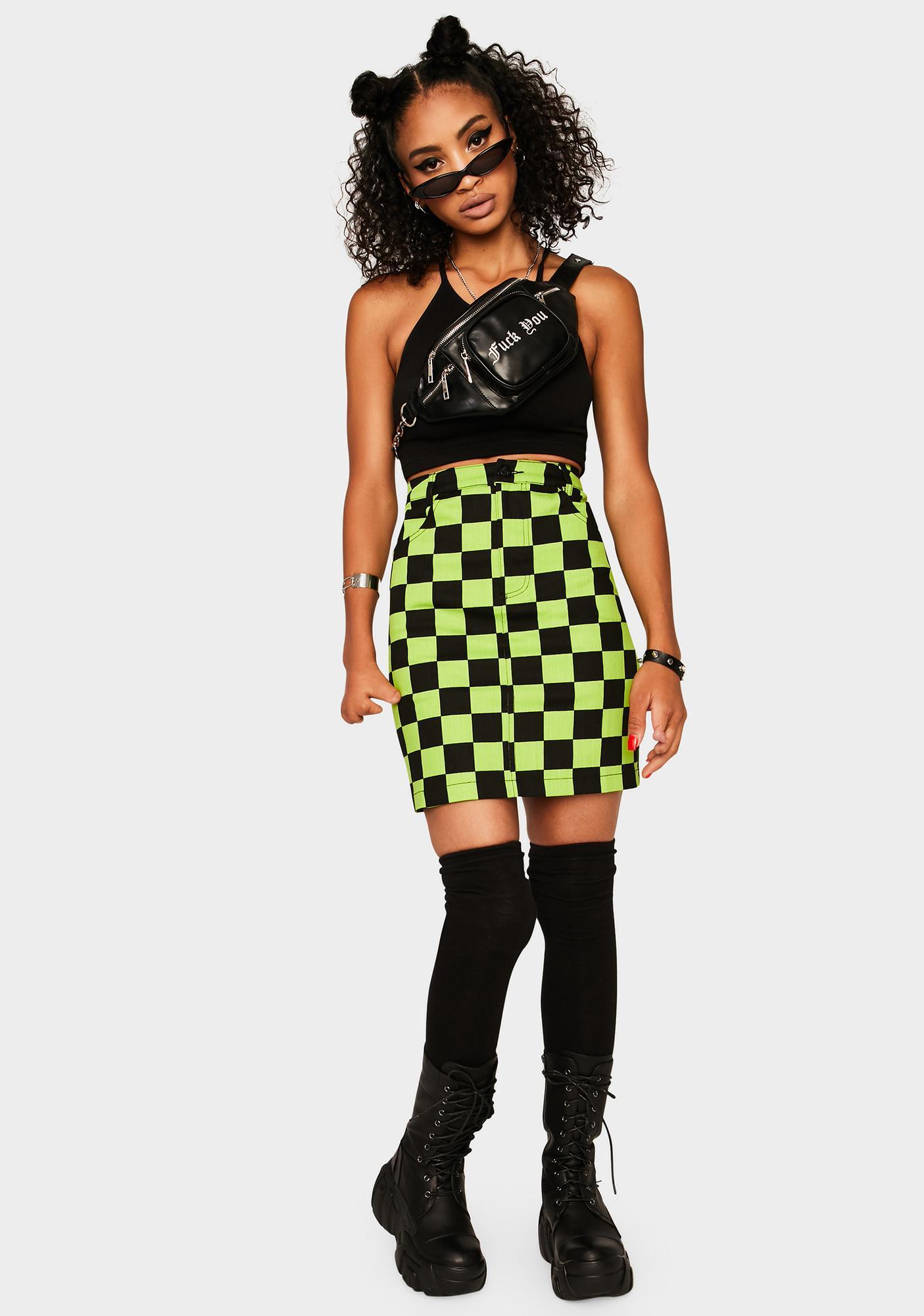 Black Friday Slimer Checkered Skirt
