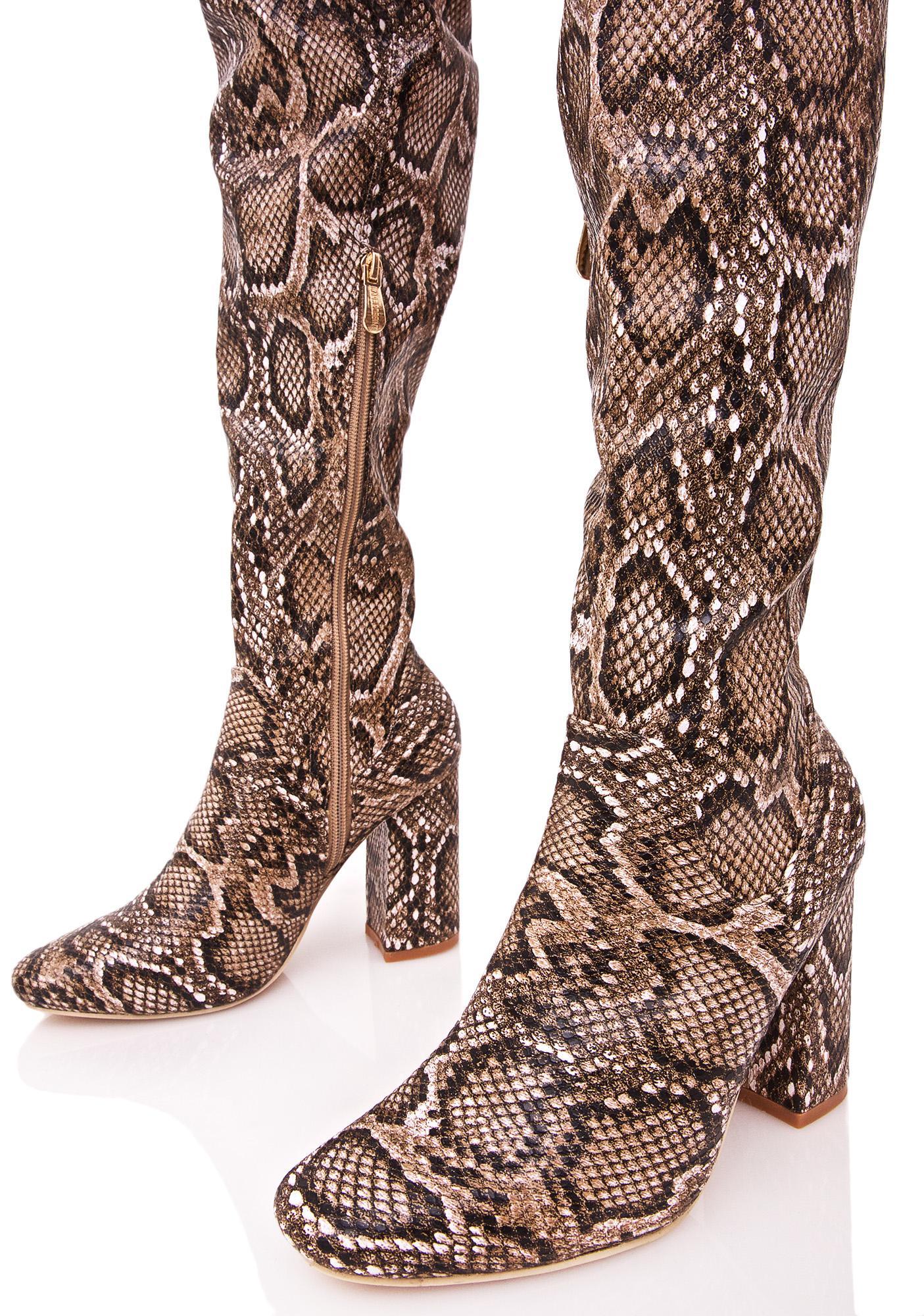 brown snakeskin thigh high boots dolls kill