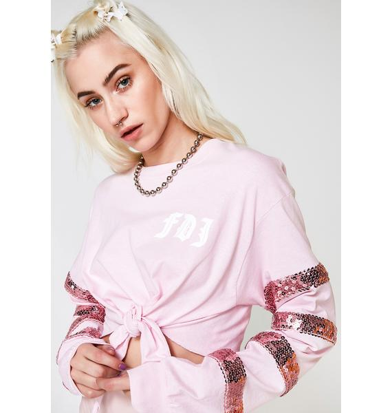 Fille de Joie Sugar Sequin Knotted Crop Top