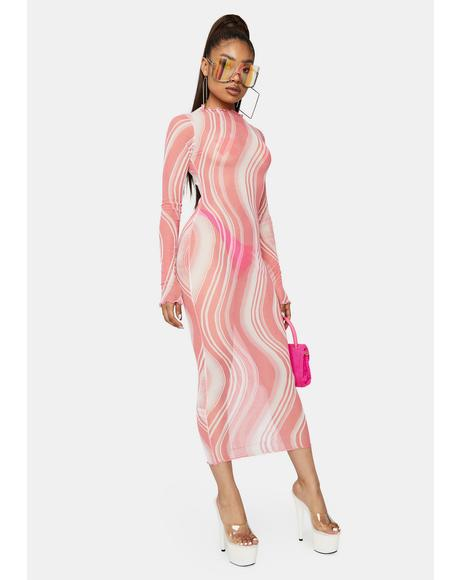 Blush Night Dancing Moonlight Long Sleeve Mesh Swirl Midi Dress