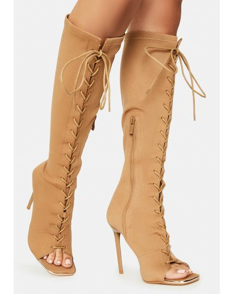 Camel Forever Bond Lace Up Boots