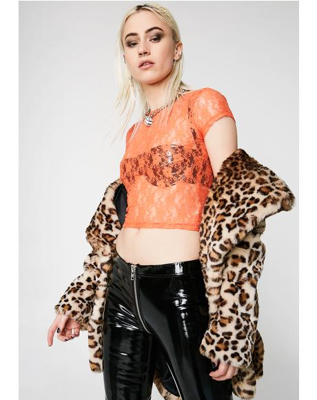 Fire Sheer Madness Lace Tee