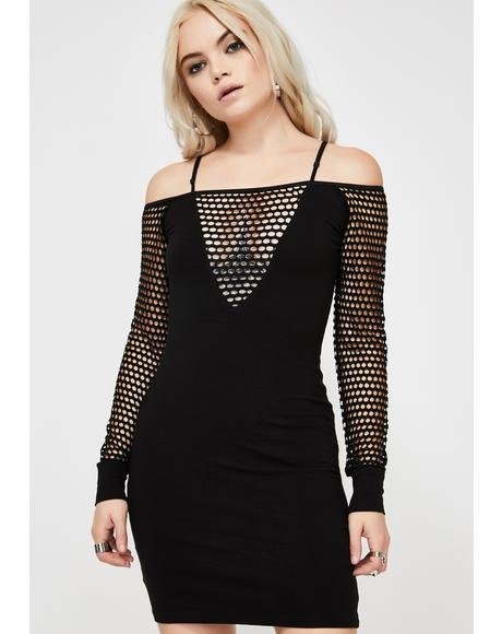 Midnight Fishnet Dress