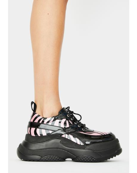 Pink Roll Up Platform Sneakers