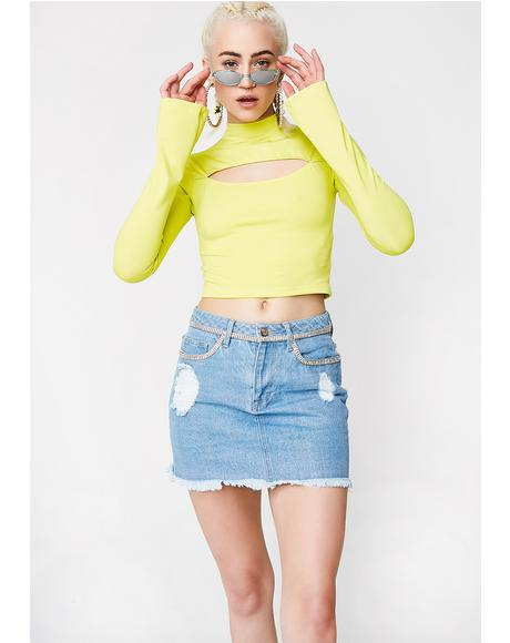 Lime Lucky Streak Cut-Out Top