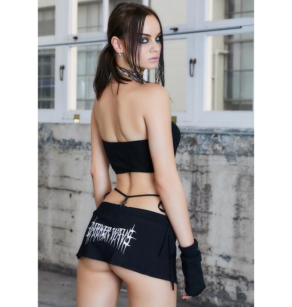 DARKER WAVS Kickdrum Elastic Cording Mini Skirt