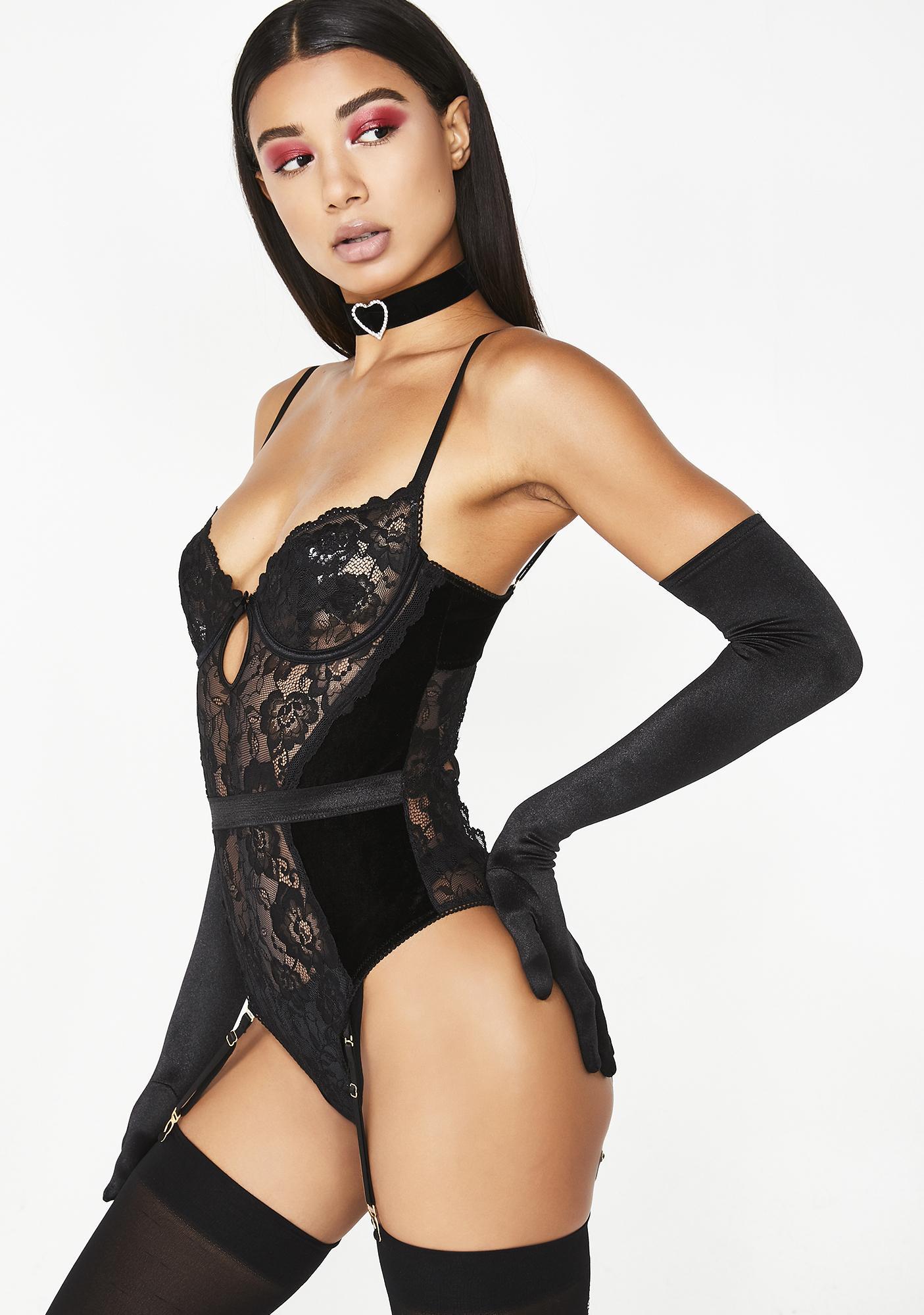 24cbce28c5 Holiday Velvet Lace Teddy Bodysuit