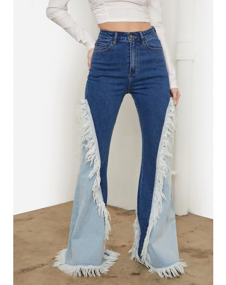 Divine Luxe Fringe Two Tone Flared Jeans