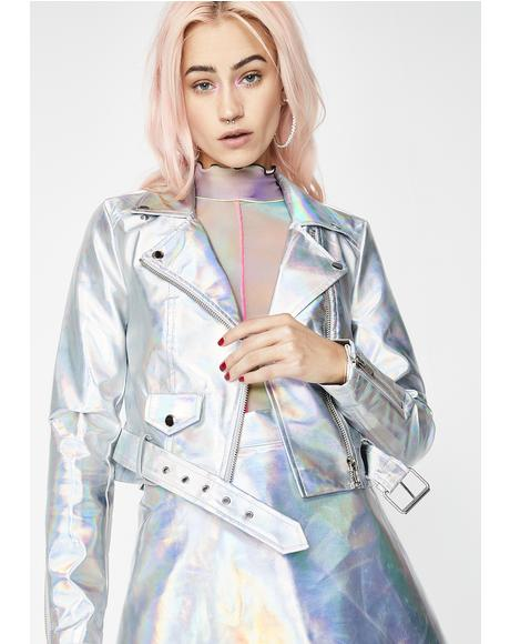 Lil' Spacey Holographic Moto Jacket