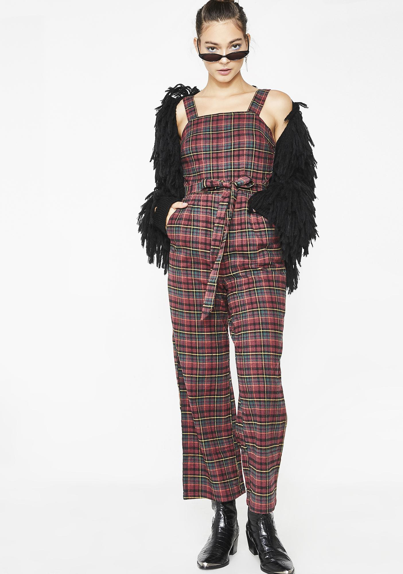 High Skool Sweetheart Plaid Jumpsuit