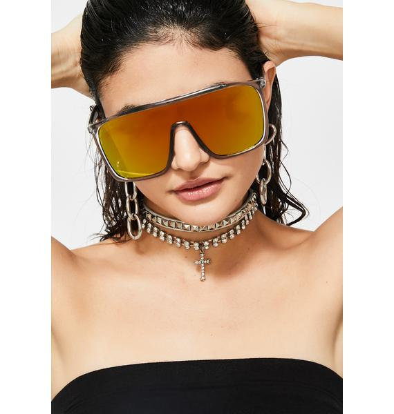 Bodak Futuristic Drip Mirrored Sunglasses