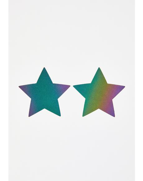 Rainbow Reflective Star Pasties