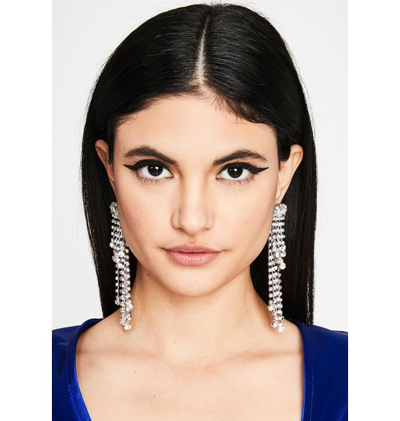Platinum Classy Chic Rhinestone Earrings
