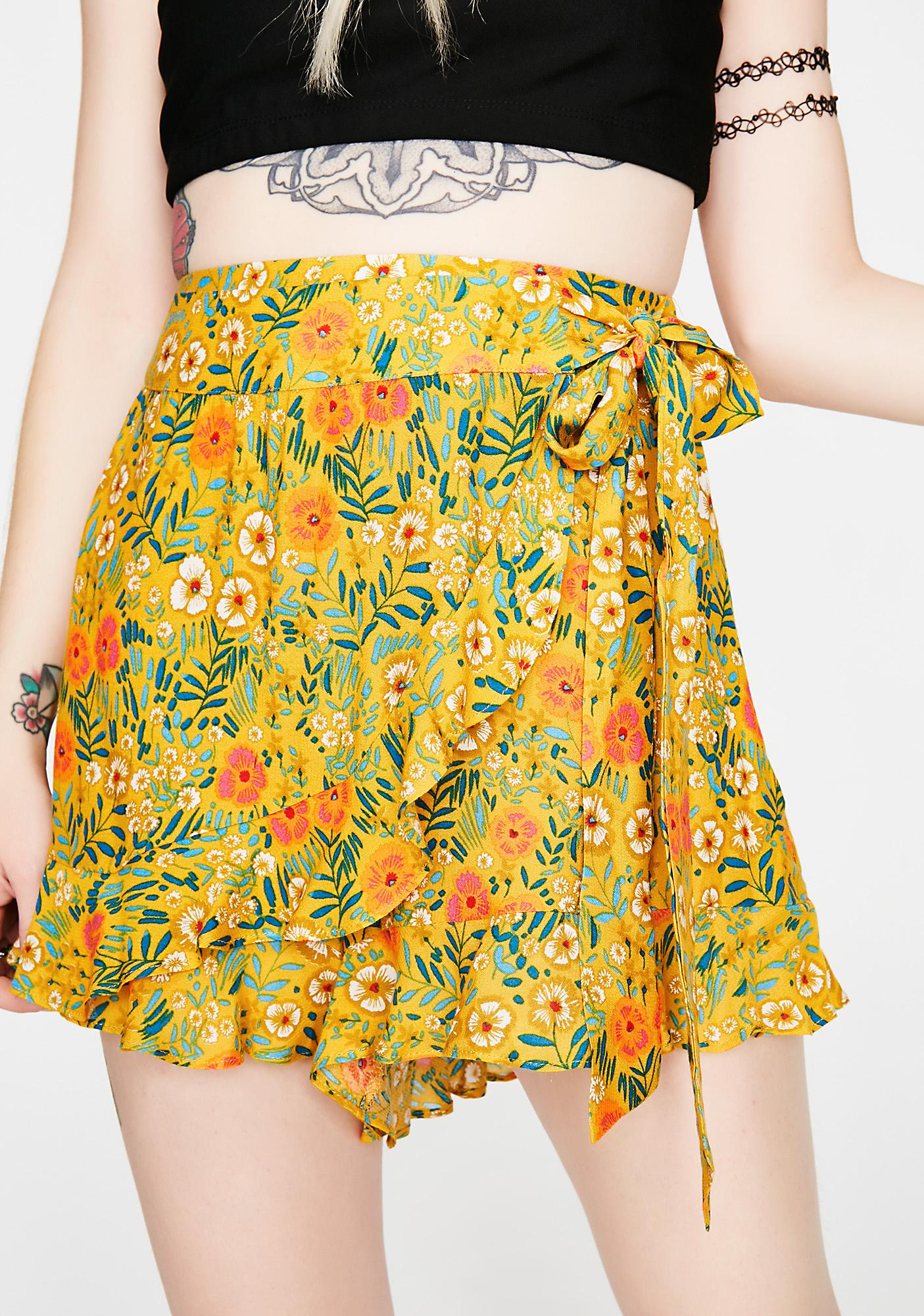Fully Flourished Wrap Skort