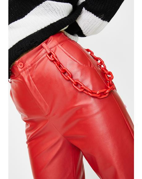 Red Chain Vegan Leather Trousers