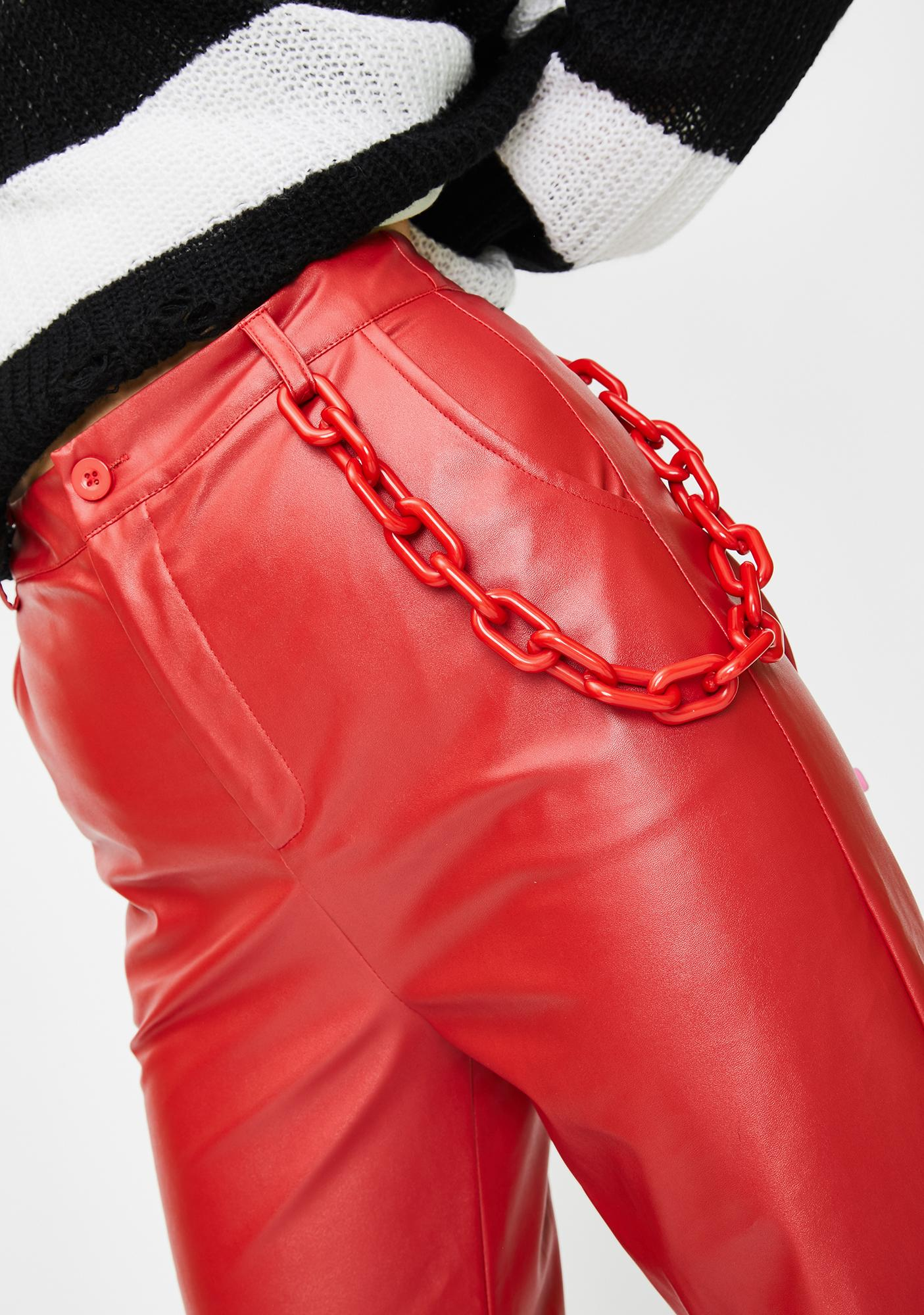 Daisy Street Red Chain Vegan Leather Trousers