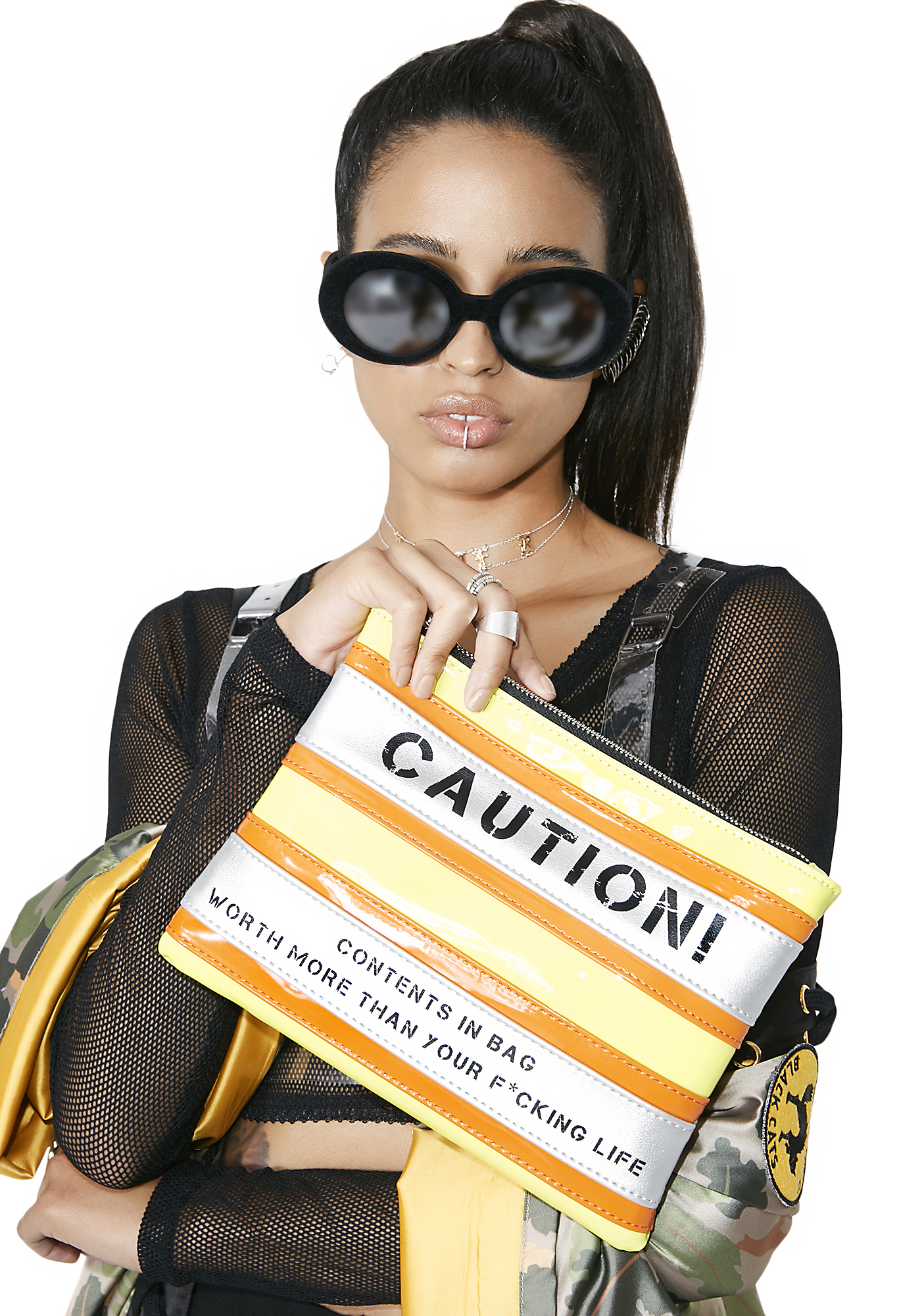 Current Mood Caution Cosmetic Bag