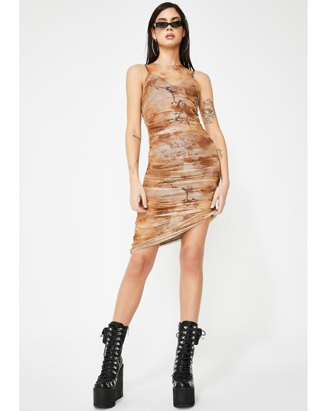 Crescent Mesh Print Dress