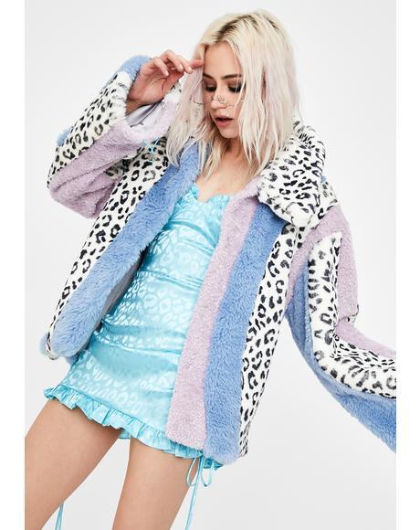 Leopard Multi Patchwork Faux Fur Jacket
