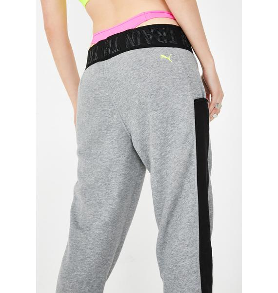 PUMA Grey Heather Logo Sweatpants