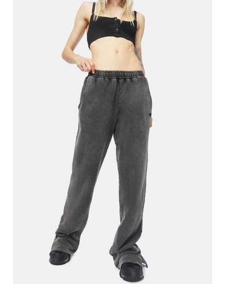 Acid Wash Slouch Track Pants