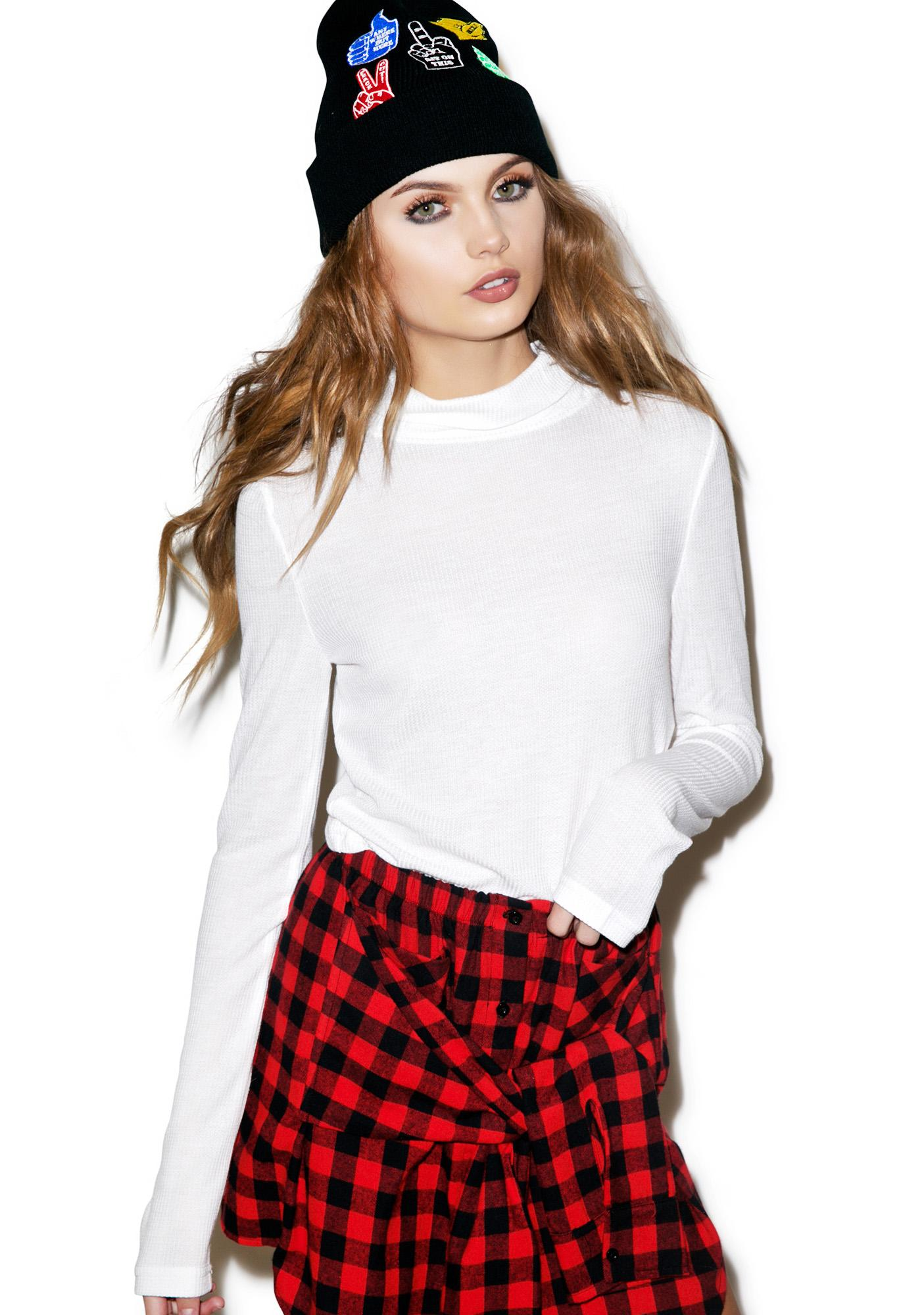 Mink Pink Glorious Day Crop Turtleneck Sweater
